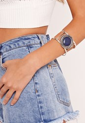 Missguided Stone Cuff Bracelet Blue Grey