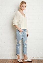 Forever 21 Floral Embroidered Peasant Top Cream
