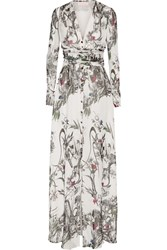 Matthew Williamson Printed Silk Chiffon Gown White