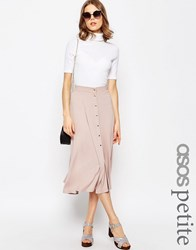 Asos Petite Midi Skater Skirt With Poppers Nude Pink