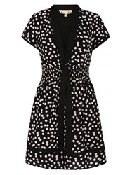 Mela Loves London Daisy Print Tie Detail Day Dress Black