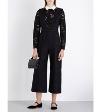 Self Portrait Botanical Guipure Lace And Quilted Jumpsuit Black