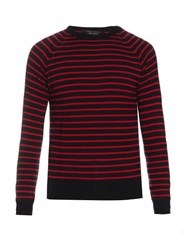Marc Jacobs Stevie Crew Neck Striped Wool Sweater Red Stripe