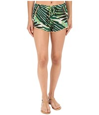 Roxy Cute Pompom Shorts Cover Up Jungle Fever 2 Large Scale Combo Women's Swimwear Green