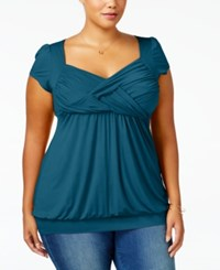 Soprano Trendy Plus Size Ruched Empire Top Teal