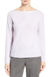 Nordstrom Women's Collection High Low Boatneck Cashmere Sweater Lilac Pale Heather