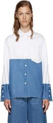 Sjyp White And Blue Colorblocked Denim Shirt