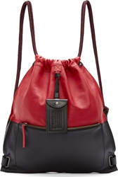 Diesel Red And Black Leather Twice Backpack