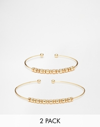 Designsix Beaded Braclet And Arm Cuff 2 Pack Gold