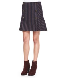 Veronica Beard Forge Striped Button Flare Skirt Navy Red Women's