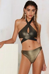 Nasty Gal Dipped In Gold High Waisted Bikini Bottom