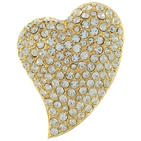 Eclectica Vintage 1980S Sparkly Gold Plated Heart Brooch