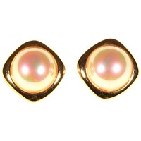 Alice Joseph Vintage David Grau Gold Plated Faux Pearl Clip On Earrings Gold Cream