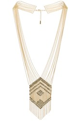 Sunahara Beaded Chandelier Necklace Metallic Gold