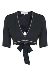Glamorous Wrap Front Crop Top By Petites Navy Blue