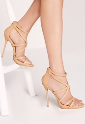 Missguided Strappy Heeled Gladiator Sandals Nude Beige
