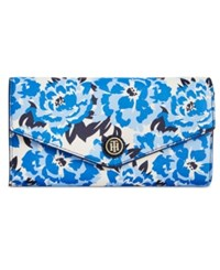 Tommy Hilfiger Th Enamel Serif Logo Printed Clutch Wallet Navy White