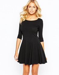 Boohoo 3 4 Sleeve Skater Dress Black