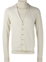 Maison Martin Margiela Cardigan Layered Sweater Nude And Neutrals