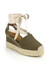 Ralph Lauren Uma Canvas Espadrille Wedge Sandals Orange Olive