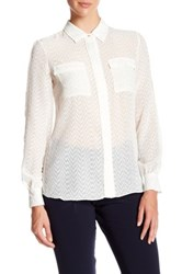 Ellen Tracy Piped Button Front Sheer Pocket Blouse White
