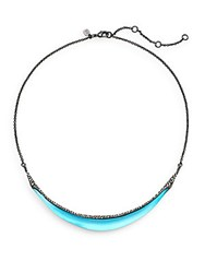 Alexis Bittar Lucite And Swarovski Crystal Crescent Collar Necklace Turquoise