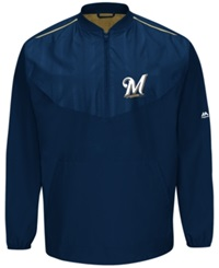 Majestic Men's Milwaukee Brewers Training Jacket Navy