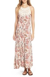 Billabong Women's 'Shine On' Print Maxi Dress Red Pink