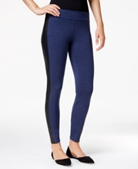 Kensie Faux Leather Panel Ponte Leggings Heather Midnight Navy Combo