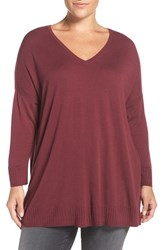 Sejour Plus Size Women's Dolman Sleeve V Neck Sweater