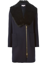 Dice Kayek Detachable Faux Fur Collar Coat Blue