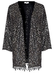 True Decadence Sequin Embellished Kimono Black Silver