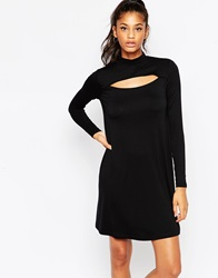 Asos Swing Dress With Key Hole Front Detail Black