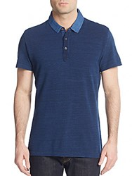 Saks Fifth Avenue Trim Fit Geo Print Polo Shirt Navy