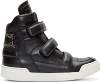 Balmain Black Leather Velcro High Top Sneakers
