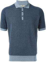 Canali Knitted Polo Shirt Blue