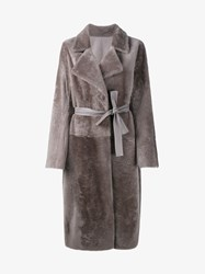 Yves Salomon Shearling And Leather Wrap Coat Beige Grey Salmon White Black