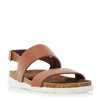 Dune Ice Pop Double Strap White Sole Sandals Tan