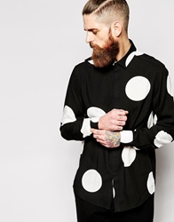 Asos Smart Shirt In Long Sleeve With Spaced Out Polka Dot Black