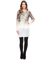 Calvin Klein Long Printed Tunic Latte Leopard Women's Blouse White