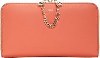Chloe Coral Pop And Blush Beige Baylee Continental Wallet