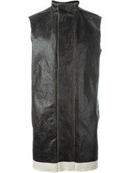 Rick Owens Funnel Neck Waxed Gilet Black