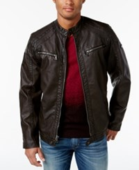 Inc International Concepts Men's Faux Leather Zip Front Moto Jacket Only At Macy's Brown