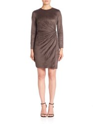 Josie Natori Knot Faux Wrap Dress Mink