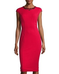 Maggy London Crepe Scuba Midi Dress New Red
