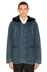 Yves Salomon Denim Parka With Blue Lamb Fur