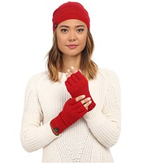 Ugg Classic Sequin Trimmed Beanie And Tech Fingerless Set Scarlett Multi Beanies Red