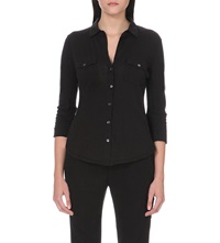 James Perse Button Up Cotton Jersey Shirt Black