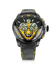 Lamborghini Black Stainless Steel Spyder Chronograph Watch W Yellow Dial