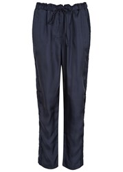 Clu Navy Cropped Lace Trimmed Trousers